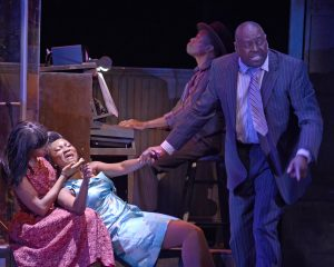 "KRYSTLE SIMMONS as Felicia and the COMPANY of Musical Theatre West's Production of ""Memphis."""
