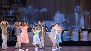 """MICHAEL MONROE GOODMAN as Huey and the COMPANY of Musical Theatre West's Production of """"Memphis."""""""