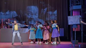 "JAY DONNELL as Bobby and the COMPANY of Musical Theatre West's Production of ""Memphis."""