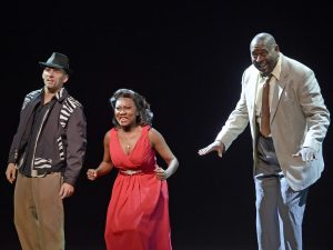 "MICHAEL MONROE GOODMAN as Huey, KRYSTLE SIMMONS as Felicia, and MICHAEL SHEPPERD as Delray in Musical Theatre West's Production of ""Memphis."""