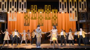 """MICHAEL MONROE GOODMAN as Huey, KRYSTLE SIMMONS as Felicia and the COMPANY Musical Theatre West's Production of """"Memphis."""""""