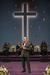 Jacqueline Williams (Congregant), Mary-Margaret Roberts (Choir), ensemble member Tom Irwin (Pastor Paul), Jazelle Morriss (Choir) and Faith Howard (Choir) in Steppenwolf's production of The Christians, a Chicago premiere by Lucas Hnath, directed by ensemble member K. Todd Freeman. The Christians runs December 1, 2016 – January 29, 2017 in the Downstairs Theatre, 1650 N Halsted St. Tickets ($20-$89) are available at 312-335-1650 and steppenwolf.org. Photo by Michael Brosilow.
