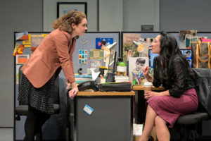 Coworkers Ani (Martha Brigham) and Kendra (Melanie Arii Mah) commiserate with each other over their job in Branden Jacobs-Jenkins's Gloria, performing at A.C.T.'s Strand Theater now through Sunday, April 12, 2020. Photo: Kevin Berne