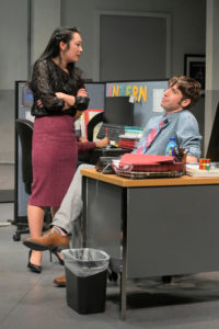 Kendra (Melanie Arii Mah) trades barbs with Dean (Jeremy Kahn) in Branden Jacobs-Jenkins's Gloria, performing at A.C.T.'s Strand Theater now through Sunday, April 12, 2020. Photo: Kevin Berne