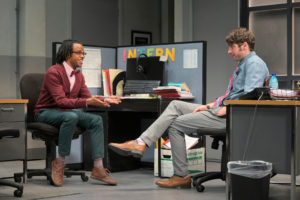 Miles, the intern (Jared Corbin), talks with Dean (Jeremy Kahn) about his ambitions in Branden Jacobs-Jenkins's Gloria, performing at A.C.T.'s Strand Theater now through Sunday, April 12, 2020. Photo: Kevin Berne