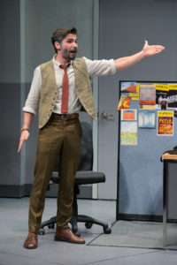 Lorin (Matt Monaco), head fact-checker, complains about the noise in the office in Branden Jacobs-Jenkins's Gloria, performing at A.C.T.'s Strand Theater now through Sunday, April 12, 2020. Photo: Kevin Berne